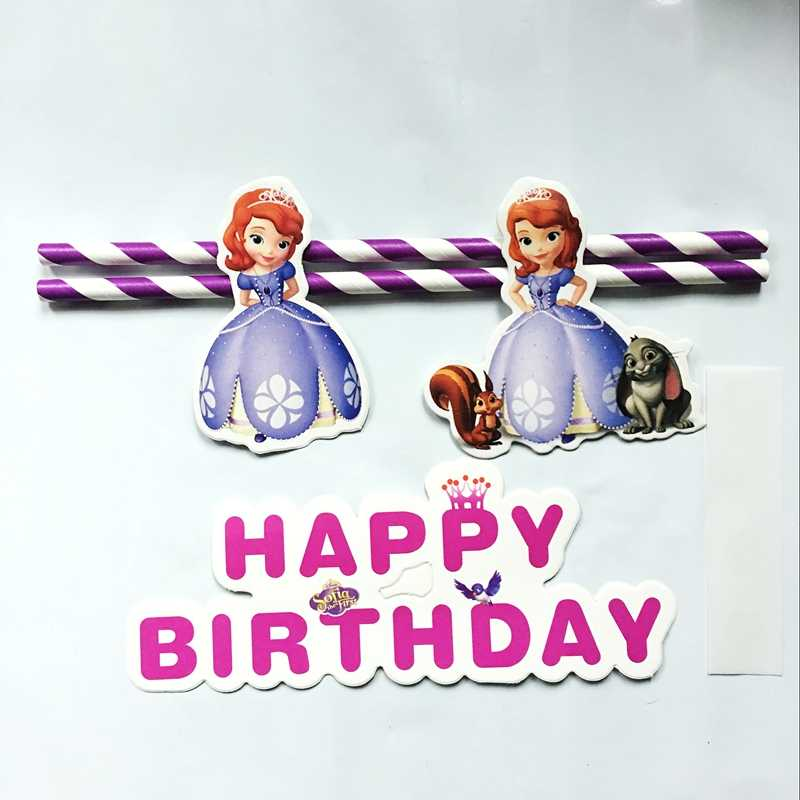 Princesa Sofia Chica Carta Dibujos Animados Cupcake Topper Banderas Pastel Niños Cumpleaños Fiesta Bebé Celebración Pastel Decoración Regalos
