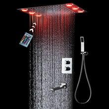 цены Luxury Bathroom Thermostatic Shower Faucets Set 360x500mm Electric LED Showerhead Big Rain Bath / Brass Chrome Spout