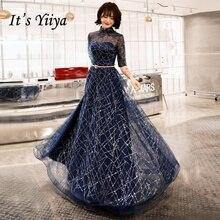 Это YiiYa вечернее платье темно-синего цвета из блестящей ткани с рукавом до локтя, вечерние платья с круглым вырезом и молнией E066