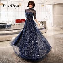It's YiiYa Evening Dress Navy Blue Shining Fabric Half Sleeve Formal Dresses Illusion O-neck Zipper Party Gown E066