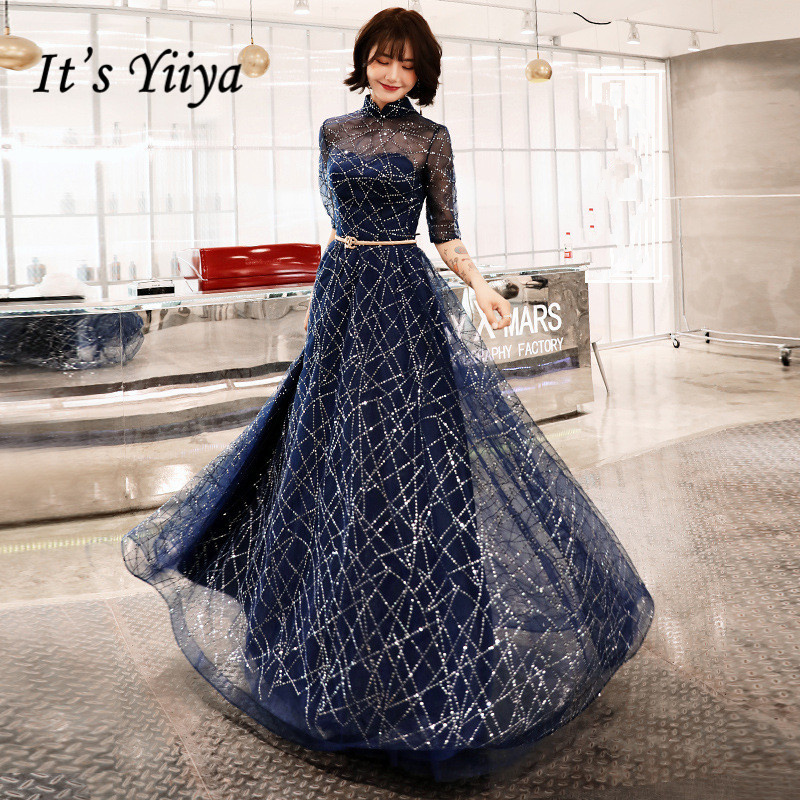 It's YiiYa   Evening     Dress   Navy Blue Shining Fabric Half Sleeve Formal   Dresses   Illusion O-neck Zipper Party Gown E066