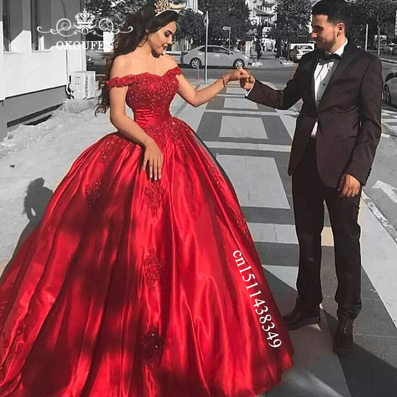Cheap Red Satin Quinceanera Dresses 2019 Puffy A Line Off Shoulder Appliques Beads Long Sweet 16 Prom Dress Formal Gown(China)