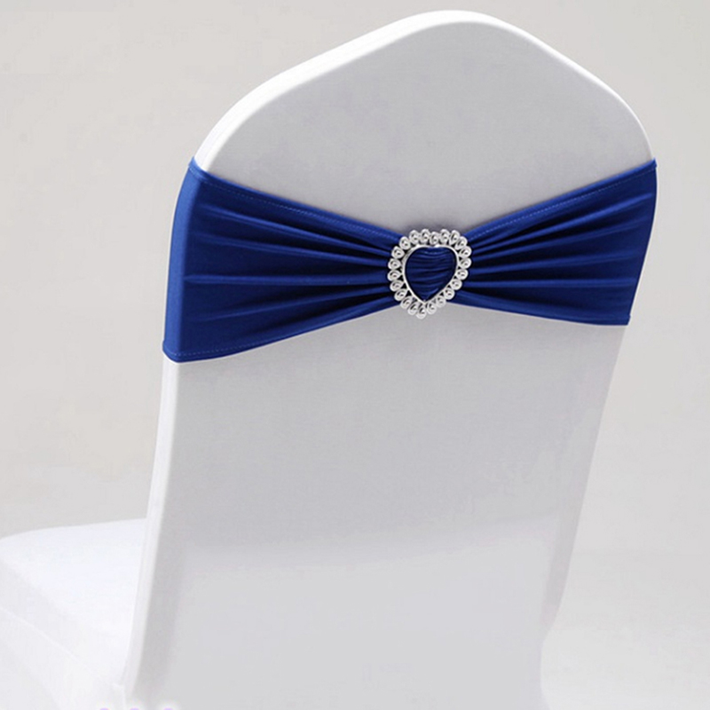 Lycra Leading Knot Chair Belt Royal Blue Spandex Belt With Heart Buckle Universal Lycra Chair Belt Wedding Decoration