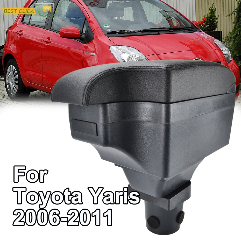 Car Styling Black Center Console Box For Toyota Yaris Vitz Hatchback 2006 2011 New Armrest 2008