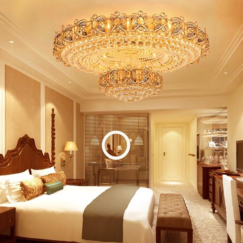 Европейские Кристалл Потолочные светильники приспособление Светодиодные лампы круглый современные золото потолочный светильник Главная