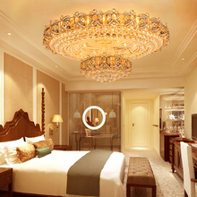 European Crystal Ceiling Lights Fixture LED Lamps Round Modern Gold Light Home Indoor Lighting 3 White Colors Dimmable