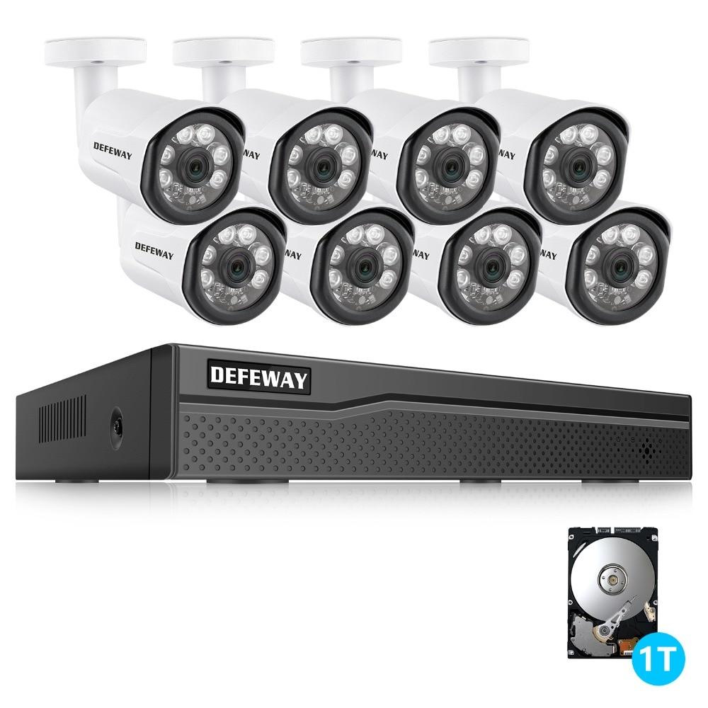 цена на DEFEWAY 8CH 1080P POE NVR kit 2MP PoE IP Camera P2P Cloud CCTV System IR Outdoor Night Vision Video Surveillance Kit 1TB HDD