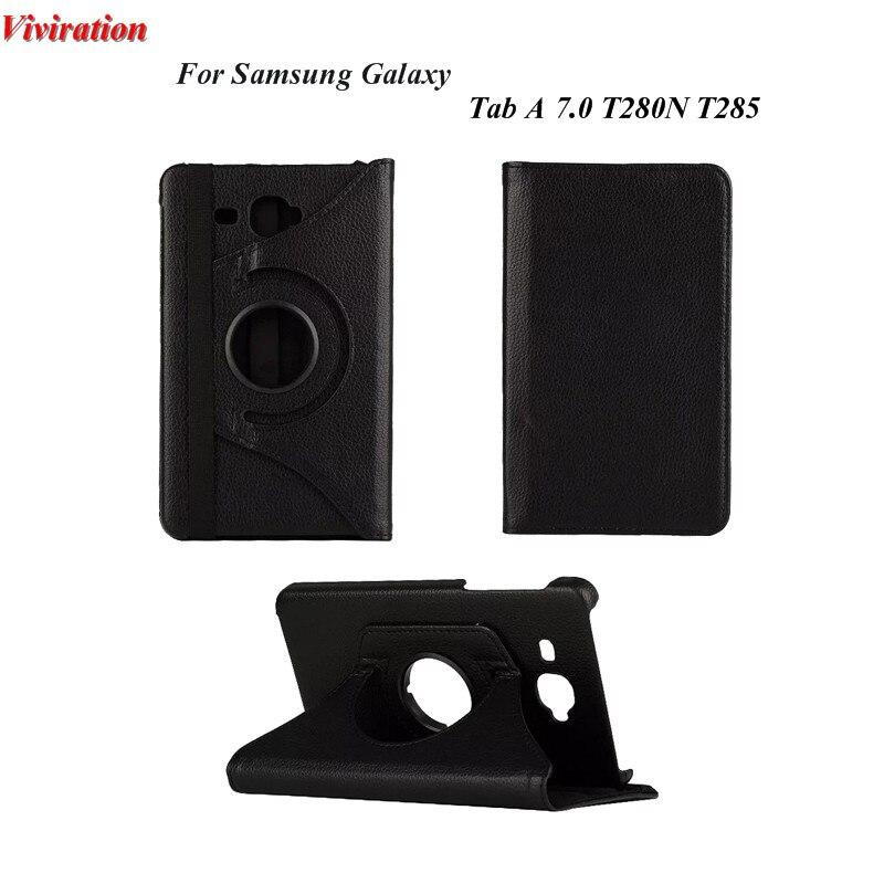 Pour Samsung Galaxy Tab Un 7.0 Pouce SM-T285 T280N Anto Wake Up Sommeil Tablet PC Cas de Couverture De Luxe Noir 360 Rotation Stand couverture
