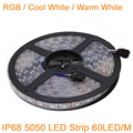 5M 12V 5050 LED Strip IP68 Waterproof 60 LED/M Outdoors Use Underwater LED Tape, Cool White Warm White RGB Color for option