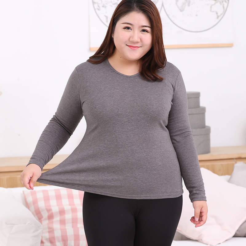 Women Thermal Underwear Tops Thick Pullover O Neck Long Sleeve Shirt Cotton Breathable Plus Size Female Winter Clothes Keep Warm