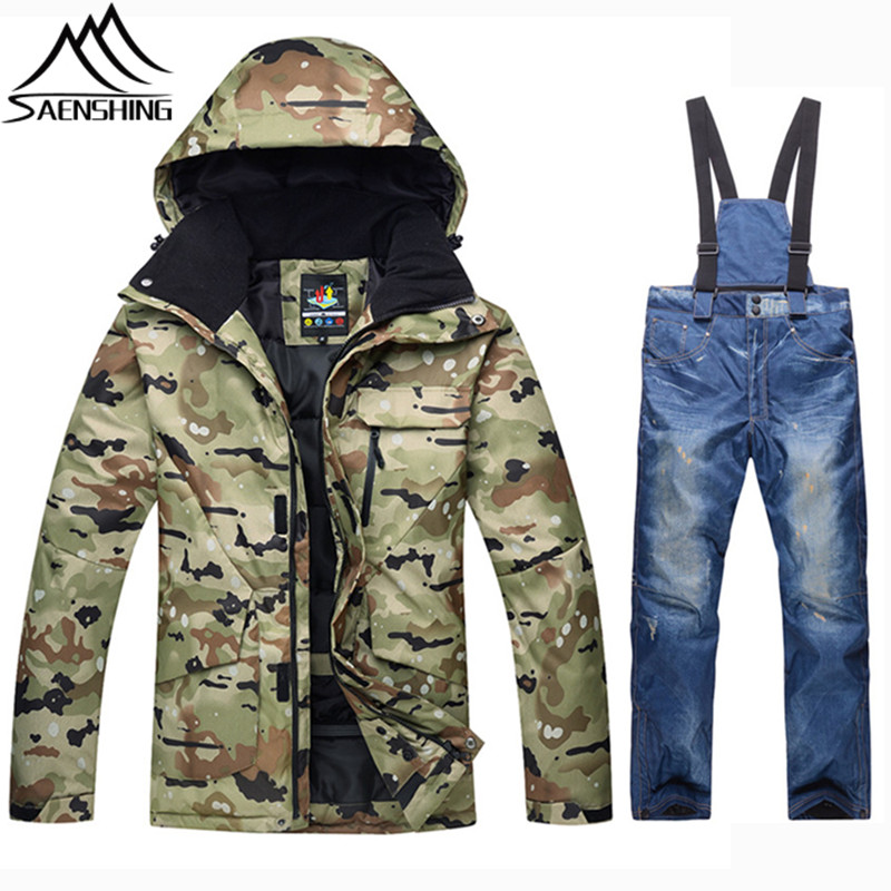 SAENSHING Winter Ski Suit Men Camouflage Waterproof Jacket Snowboard Pants Warm Snowboarding Suits Outdoor Snow