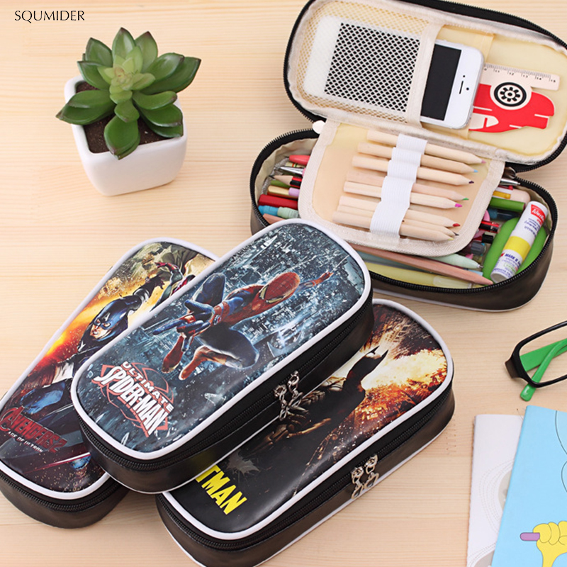 Creative The Avengers Alliance Superhero Pen Box Film School Office Stationery Case Capacity Pencil Boy Gifttrousse Scolaire