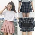 2017 harajuku юбки женщин корейской лето новый стиль плед плиссированные юбки рок kawaii высокой талией мода женщины одежда