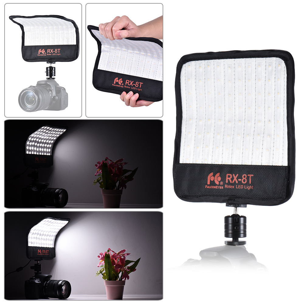 FalconEyes RX 8T 16W Mini luz led para vídeo 5600K CRI94 paño Flexible lámpara de luz diurna a prueba de salpicaduras para fotografía de estudio - 2