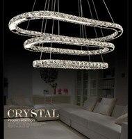 Modern Minimalist 3 Head Rectangle LED Crystal Pendant Lights Modern K9 Crystal Lamp D20 40 60cm