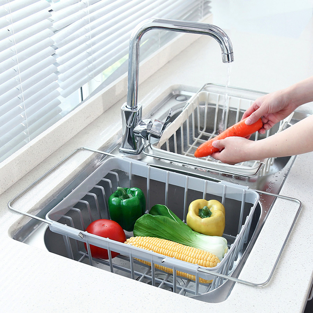 Telescopic Sink Drain Rack Plastic Kitchen Dish Rack Bowl Chopsticks Rack Household Vegetable Storage Rack LM7191629