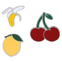 Mini Buah Bros Pin Kartun Kucing Pisang Nanas Semangka Cherry Enamel Pin Bros Ja ^ ^ Cket Denim Kerah lencana(China)