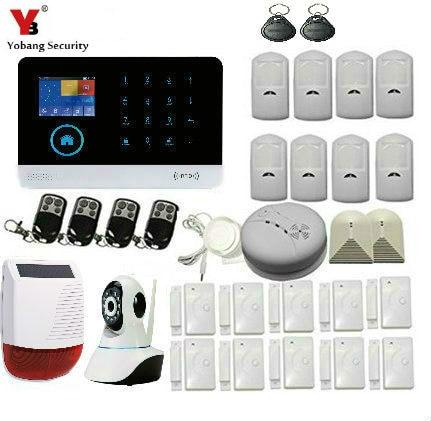 все цены на YobangSecurity APP Remote Control WiFi GSM GPRS Home Burglar Alarm System Solar Power Siren Smoke Fire Sensor Video IP Camera онлайн