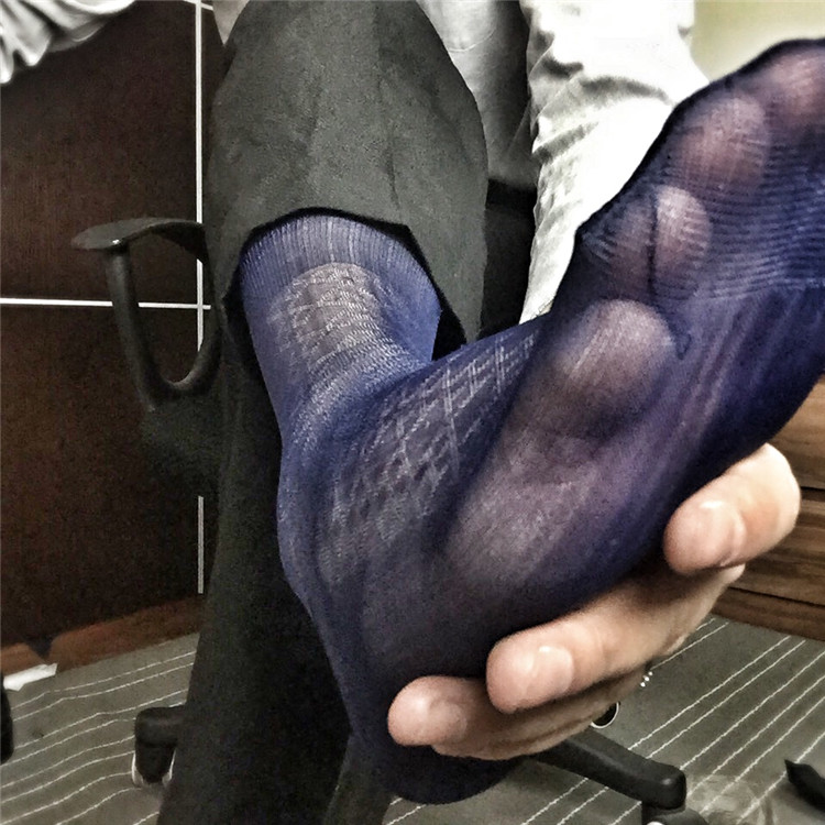 Mens Silk Socks Formal Pattern Sheer Thin High Quality Male Dress Suits Socks Sexy Fetish Collection Socks