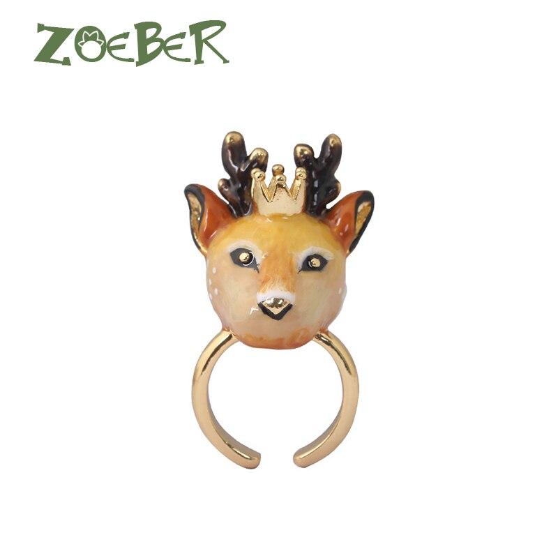 Zoeber Animal Wedding Rings 3D Enamel Glaze Sika deer Rings For Women Funny Lady Adjustable Animal Ring Jewelry Gift RJ2114 цена в Москве и Питере