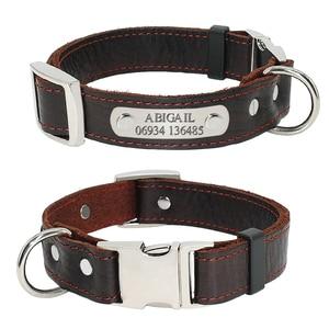 Image 1 - Collar personalizado de piel auténtica para perro, placa con nombre para cachorro, Collar ajustable libre, etiquetas de identificación de mascota grabadas para perros pequeños y medianos