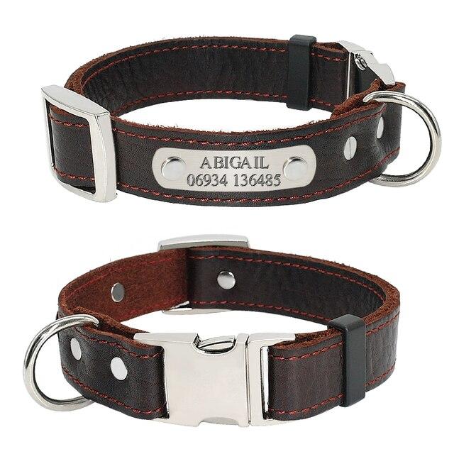 Collar personalizado de piel auténtica para perro, placa con nombre para cachorro, Collar ajustable libre, etiquetas de identificación de mascota grabadas para perros pequeños y medianos
