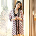 Sale!2 Piece Set Sleepwear Dressing Gown Garden Style Robe & Gown Sets Women Nighty Robe Set Sexy Pajamas Nighty For Women