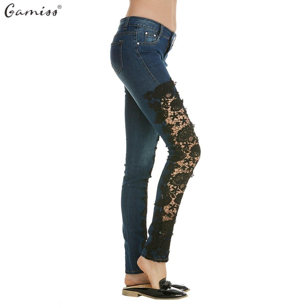 gamiss women jeans pants ladies lace crochet floral splice. Black Bedroom Furniture Sets. Home Design Ideas