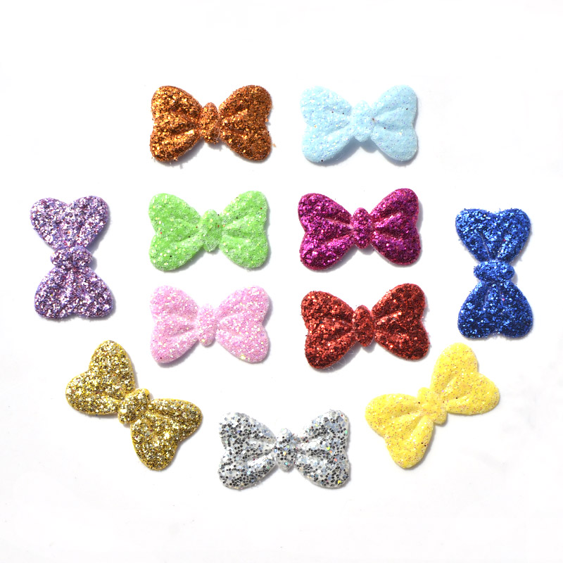 100Pcs Mixed Colors Glitter Nonwoven Bowknot Felt Fabric Patch DIY Cloth Appliques/Craft Wedding decoration K19 ...