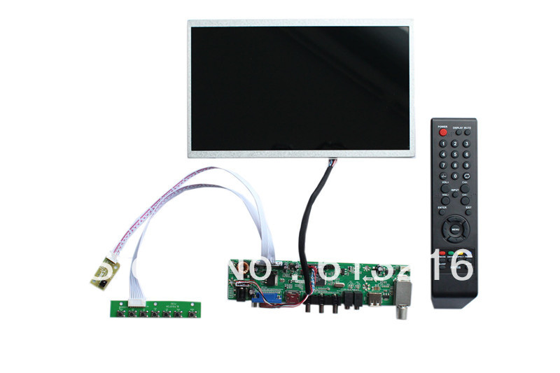 HDMI+VGA +AV +Audio  of  TV  board +B101EW02V0  1280*720+LVDS cable +Remote control and receiver +OSD keypad with cable 3d42738i tv remote receiver receives board juc7 820 00047872 used disassemble