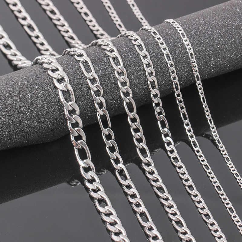 新ステンレス鋼縁石キューバメンズレディースゴールド黒銀鋼縁石チェーンネックレス 45-60 センチメートルファッションジュエリー