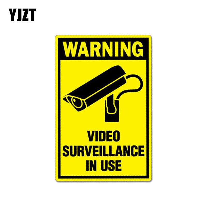 YJZT 7.8CM*12CM Warning Car Sticker Video Surveillance In Use Decal PVC 12-1027