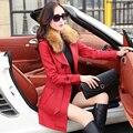 Весна Корейской версии нового длинный участок Г-Жа Тонкий овец кожаное пальто больших ярдов кожные подол Съемная Куртка