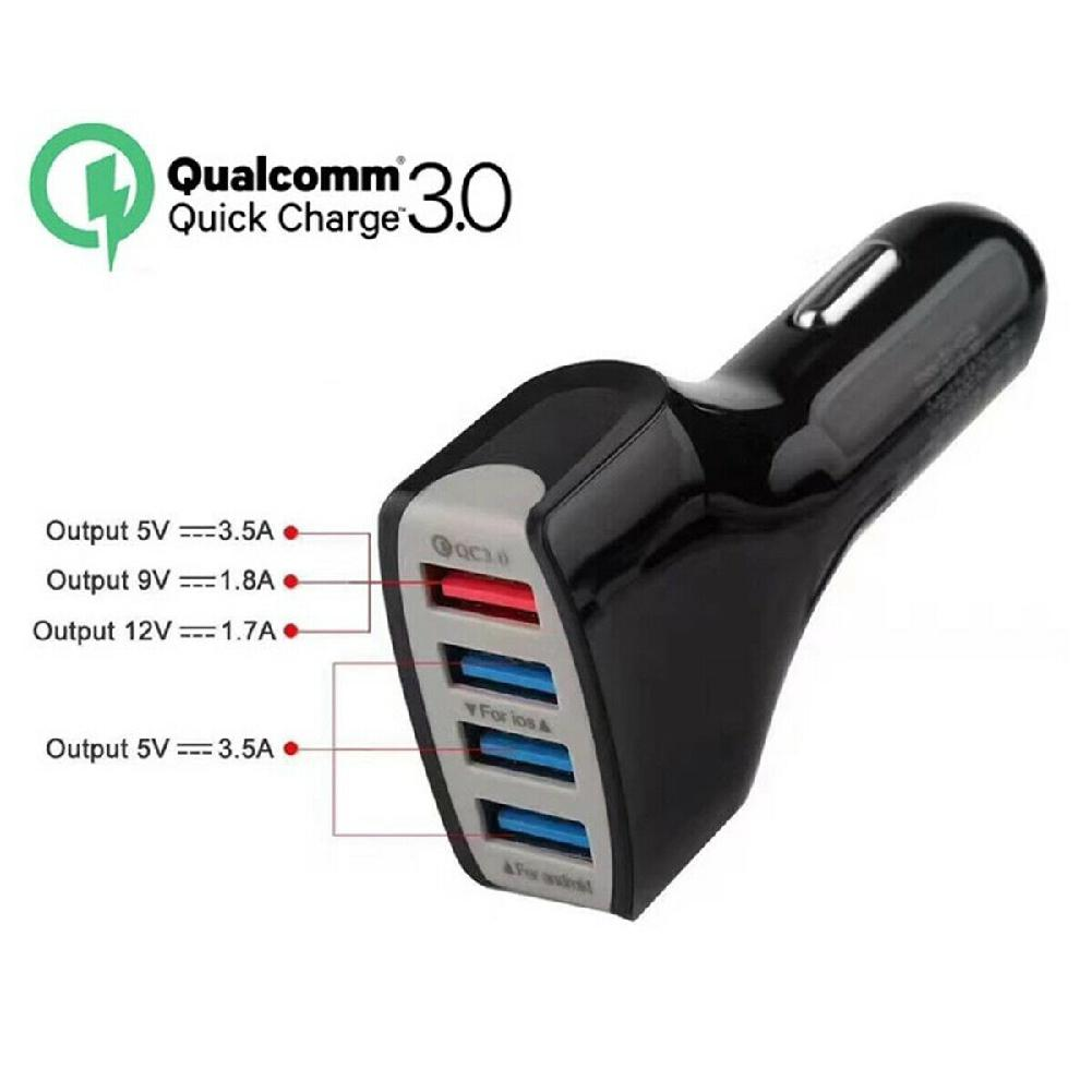 Car-Charger 4-Ports Qc 3.0 Tablet Phone Huawei Samsung S8 Xiaomi Mi-9 USB For P30-Pro