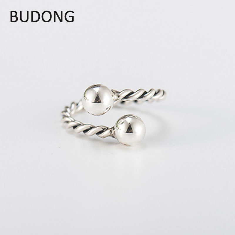 BUDONG Double Ball Open Rings For Women High Quality Twist Finger Ring Lady Prevent Allergy Sterling-silver-jewelry LHRT0067