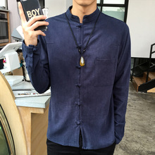 Chinese Wind Linen Shirt Sleeved Cotton Shirt Collar Chinese Autumn Handicap Man Tang Suit Jacket