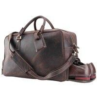 Мужская Дорожная сумка из натуральной кожи большой емкости модная повседневная сумка тоут сумочки из натуральной кожи винтажные Кожаные Д