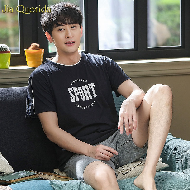 100% Cotton Pyajams Summer Shorts Men Sleepwear 2019 Leisure Home Clothing Night Short Sleeves Pants Pijama Cotton Pajamas Men