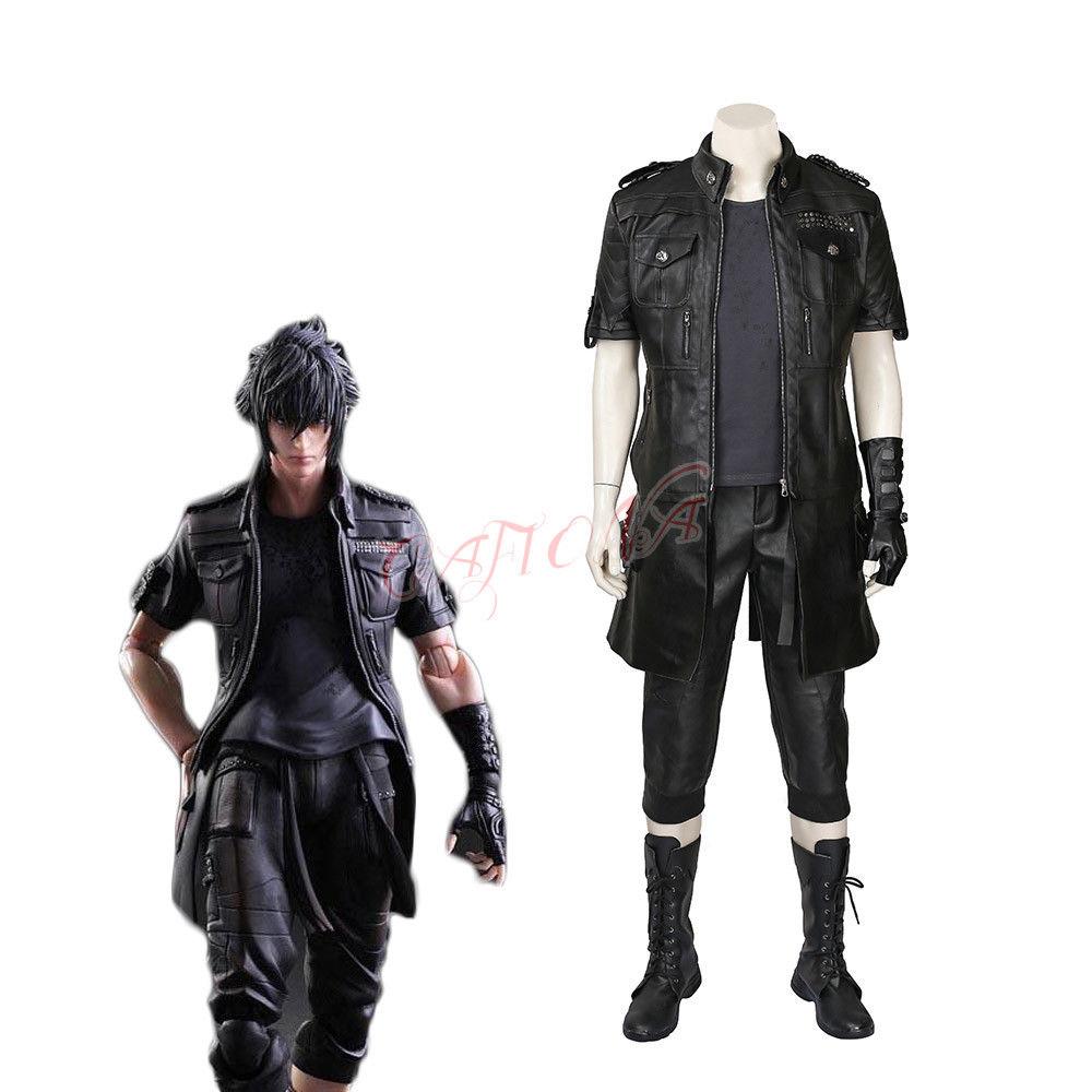 Cafiona Cool Noctis Lucis Caelum Final fantaisie XV Cosplay Costume homme noir tenues bottes