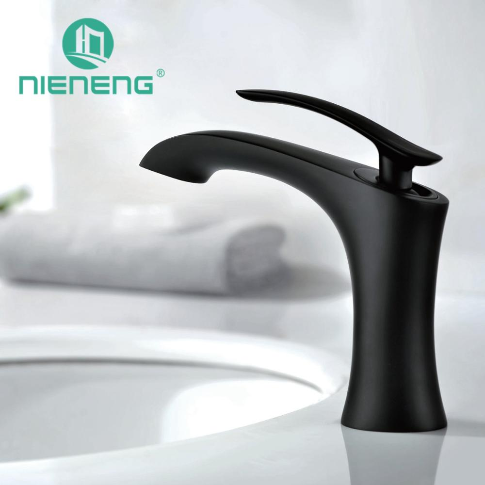 Nieneng Basin Black Faucet Bathroom Sink Mixer Brass Tap Furniture Water Faucet Bathroom Sink Faucet Restroom Mixers ICD60354 nieneng big discount basin washroom mixer bathroom faucet tap mixers wc sanitary ware water toilet taps polished chrome icd60157