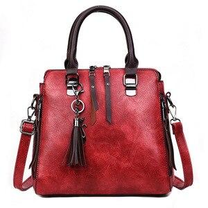 Image 3 - Vintage PU Leder Damen Handtaschen Frauen Messenger Taschen TotesTassel Designer Umhängetasche Schulter Tasche Boston Hand Taschen Heißer Verkauf