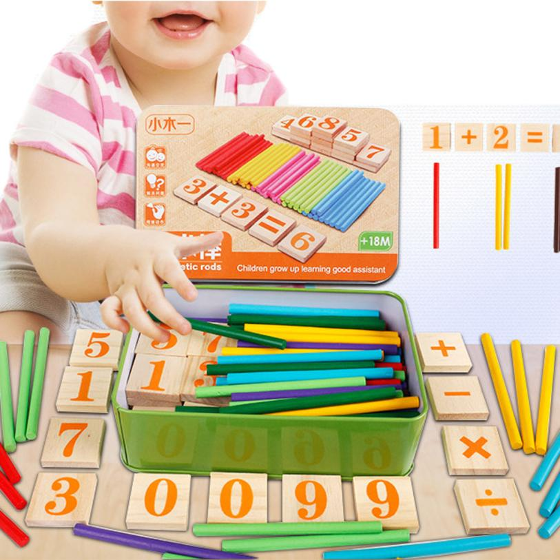 snowshine3 YLI Kids Child Wooden Numbers Mathematics Early Learning Counting Educational Toy Toy Table game