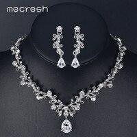 Mecresh Luxury Cubic Zirconia Bridal Jewelry Sets Leaf Shape Crystal Rhinestone Female Party Jewelry Necklace Sets