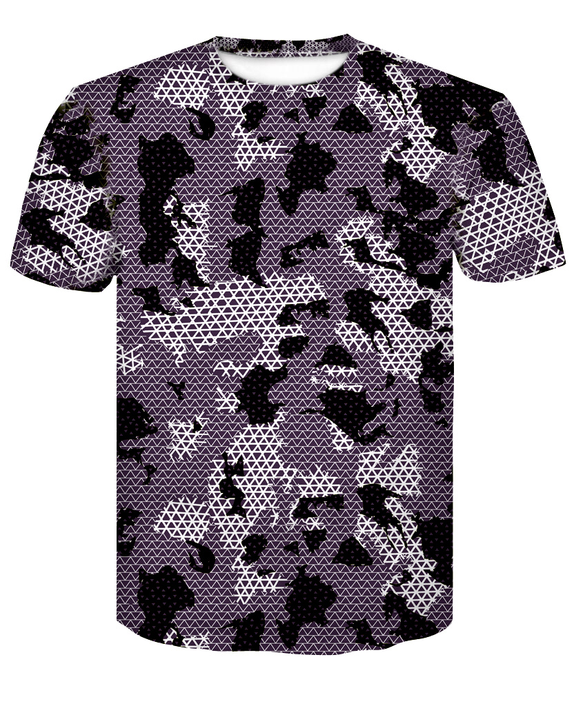 2018 new 3D printing summer youth health body brand camouflage T-shirt.