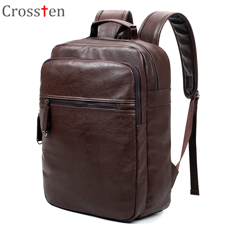 Crossten Fashion Men's Top Quality Pu Leather Laptop Backpack Men School Bag Leather Male Rucksack Knapsack Bagpack Black Brown