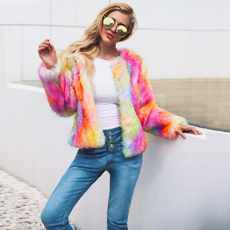 2019 Autumn Winter Overcoat Korean Style Tops Women Faux Fur Coat Open Front Thick Warm Cardigan Jacket Outerwear tunics Orange