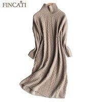 Dress Women 2017 Autumn Winter High Grade 100 Pure Cashmere Cozy Fluffy Mid Calf Length Femme