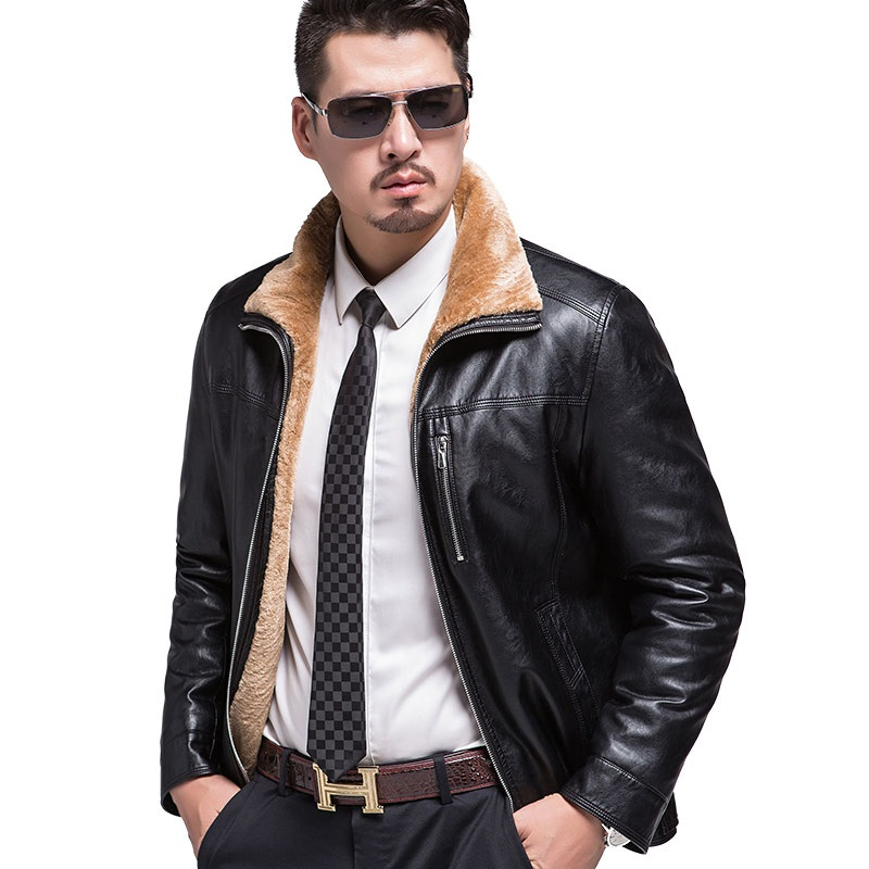 KUYOMENS Leather Jacket Mens Faux Fur 2017 Winter Faux Leather Coat For Male Casual Faux Leather Coat Overcoat