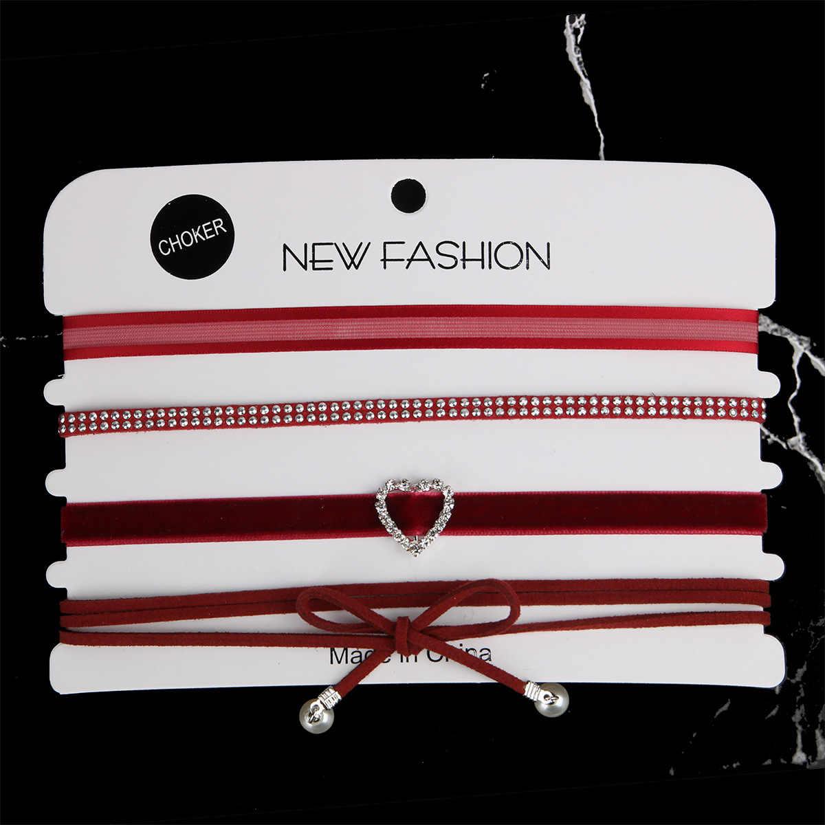 4 cái/bộ Thời Trang Phổ Biến Nhiều Màu Nhung Choker Vòng Cổ Ren Chuỗi Dây Lớp Chocker Vintage Bông Trang Sức dành cho Nữ