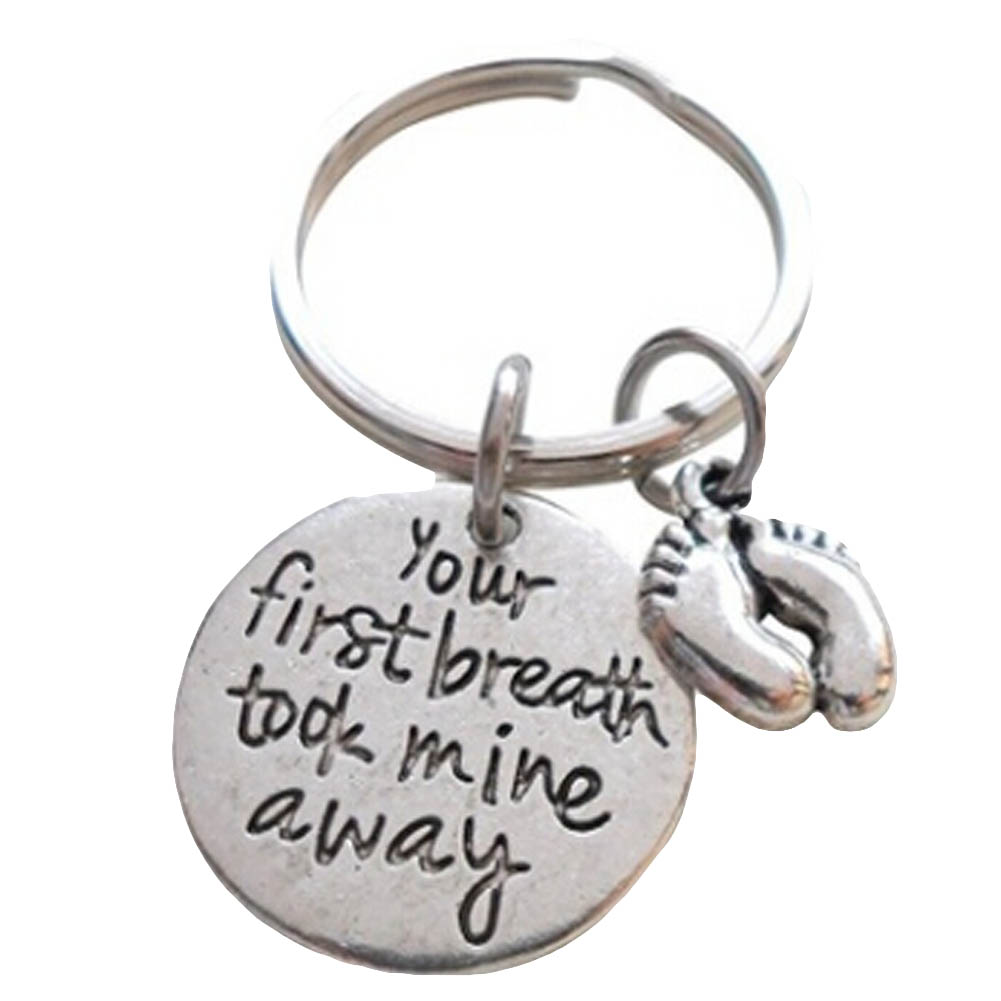 2017 your first breath took mine away Round Charms Cheap Wholesale Keychain